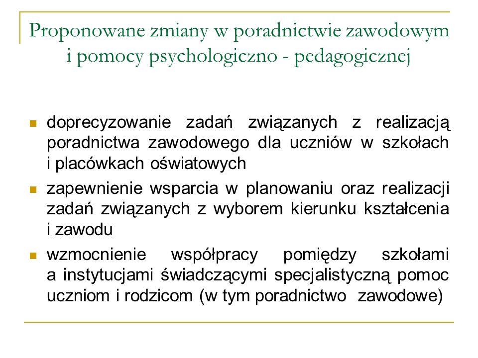 Proponowane zmiany w poradnictwie zawodowym i pomocy psychologiczno - pedagogicznej