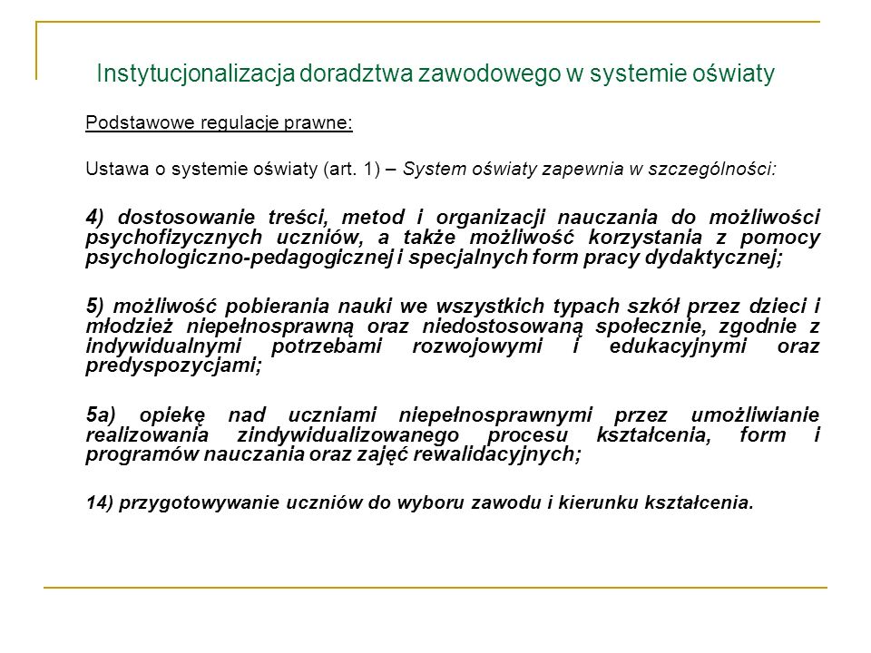 Instytucjonalizacja doradztwa zawodowego w systemie oświaty