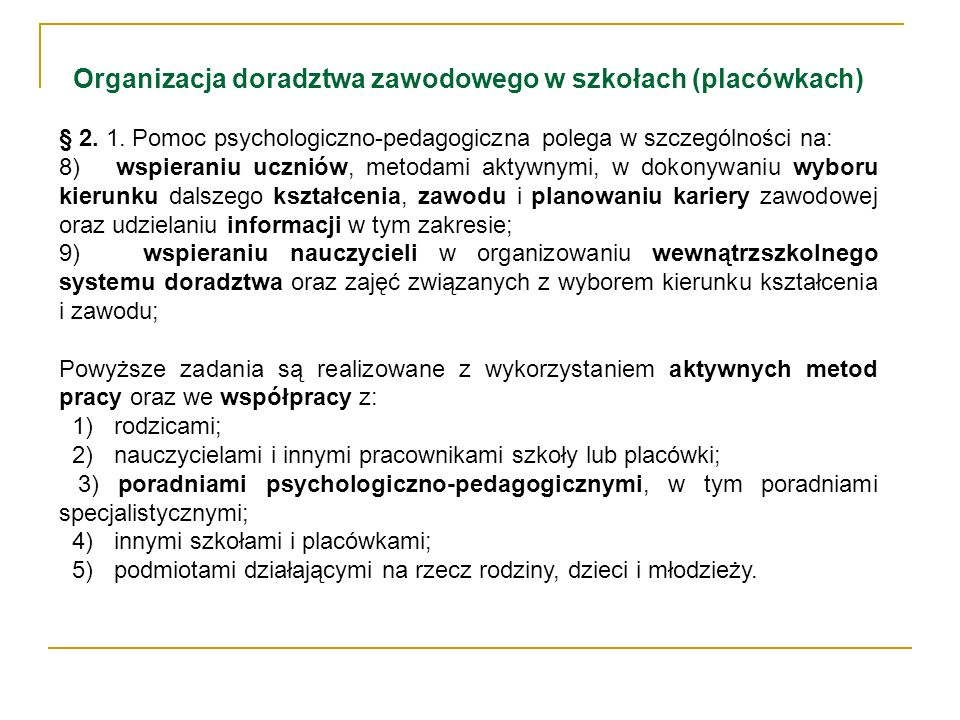 Organizacja doradztwa zawodowego w szkołach (placówkach)