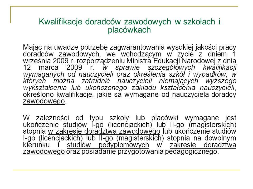 Kwalifikacje doradców zawodowych w szkołach i placówkach
