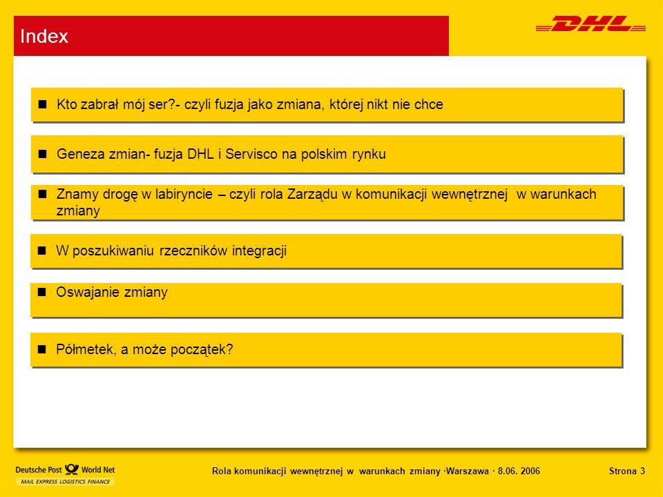 Index Kto zabrał mój ser - czyli fuzja jako zmiana, której nikt nie chce. Geneza zmian- fuzja DHL i Servisco na polskim rynku.