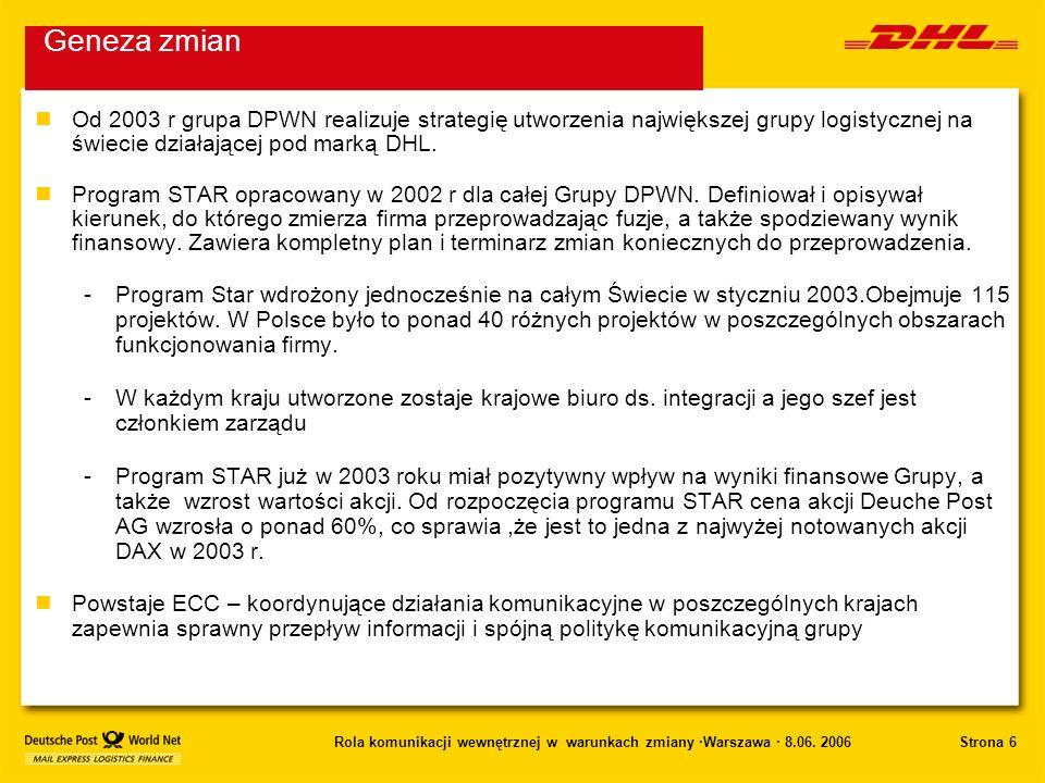 Geneza zmianOd 2003 r grupa DPWN realizuje strategię utworzenia największej grupy logistycznej na świecie działającej pod marką DHL.