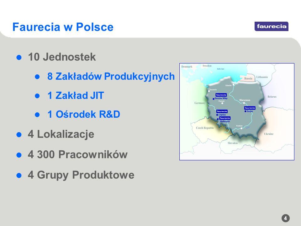 Faurecia w Polsce 10 Jednostek 4 Lokalizacje 4 300 Pracowników