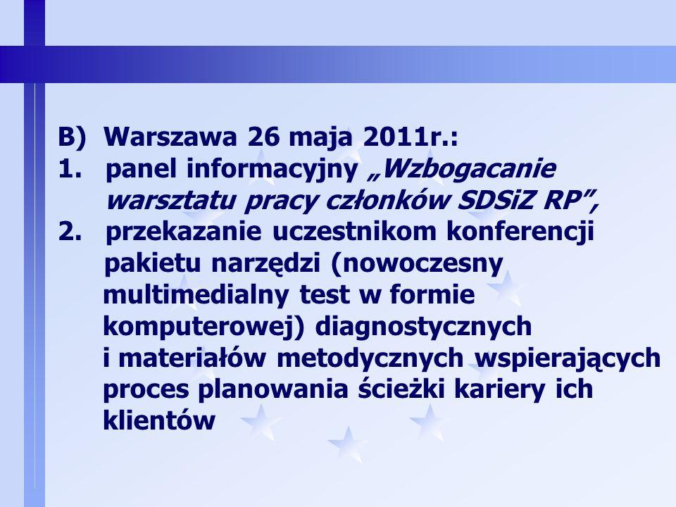 """B) Warszawa 26 maja 2011r.: 1. panel informacyjny """"Wzbogacanie. warsztatu pracy członków SDSiZ RP ,"""