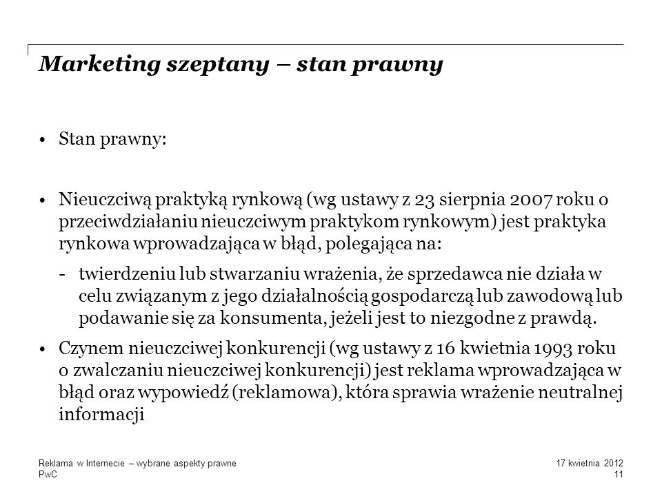 Marketing szeptany – stan prawny