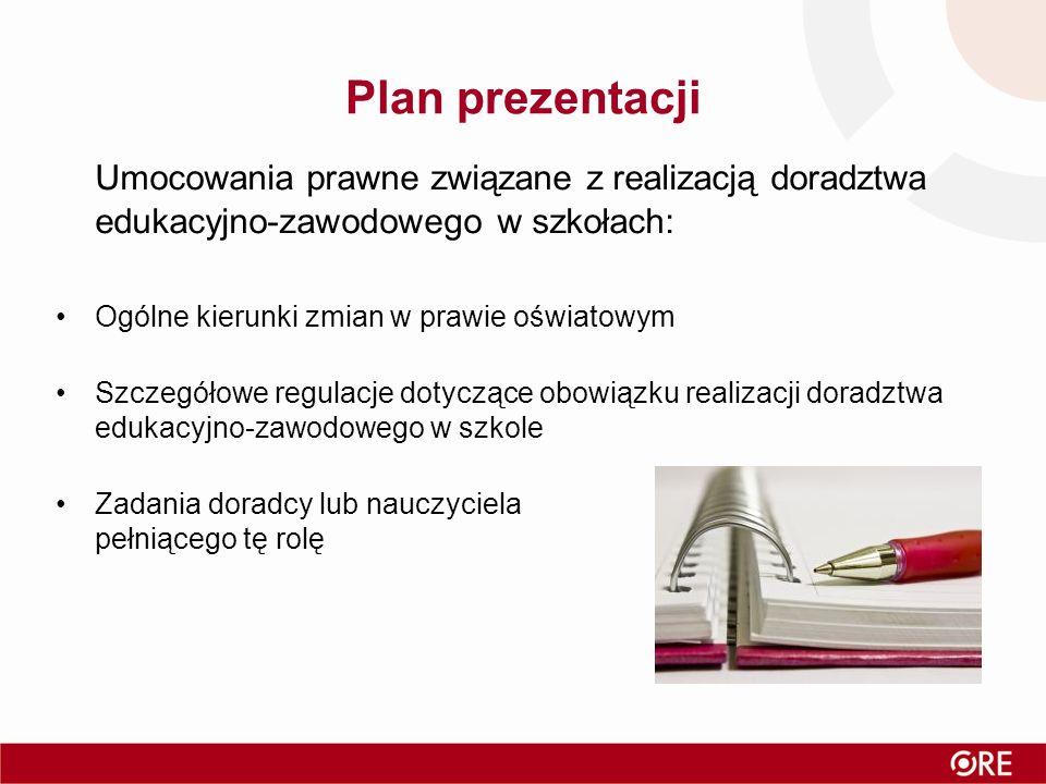 Plan prezentacji Umocowania prawne związane z realizacją doradztwa edukacyjno-zawodowego w szkołach:
