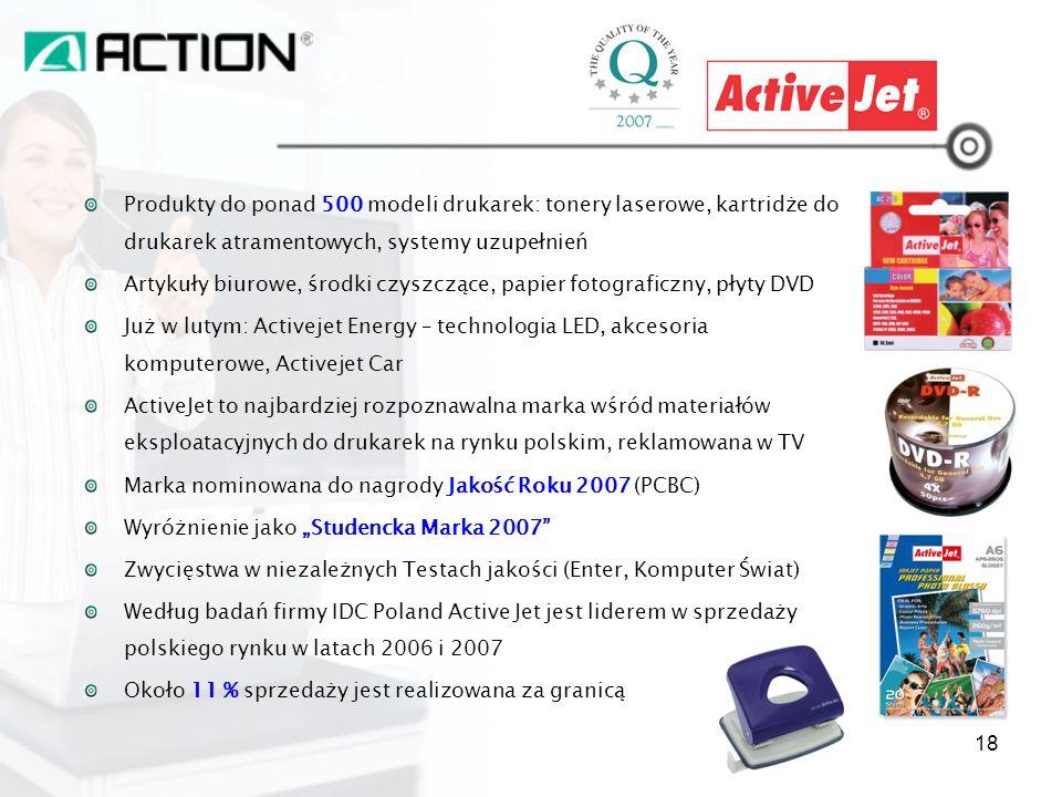 Produkty do ponad 500 modeli drukarek: tonery laserowe, kartridże do drukarek atramentowych, systemy uzupełnień