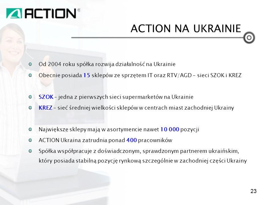 ACTION NA UKRAINIE Od 2004 roku spółka rozwija działalność na Ukrainie