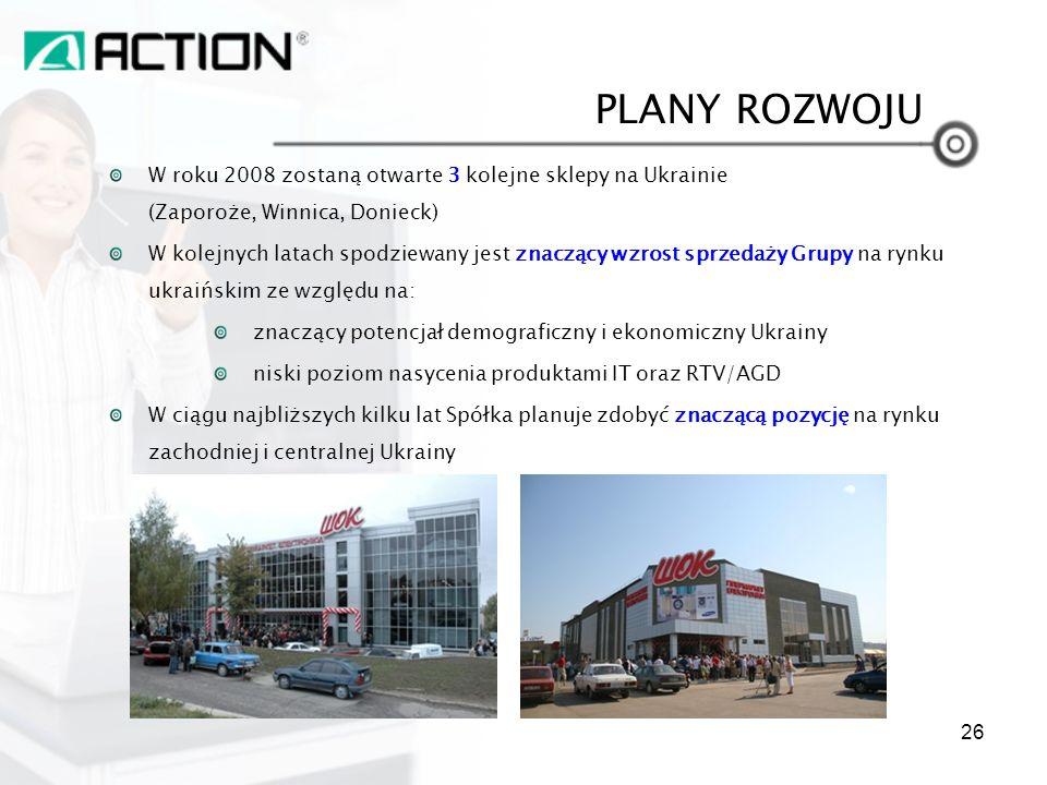 PLANY ROZWOJU W roku 2008 zostaną otwarte 3 kolejne sklepy na Ukrainie (Zaporoże, Winnica, Donieck)