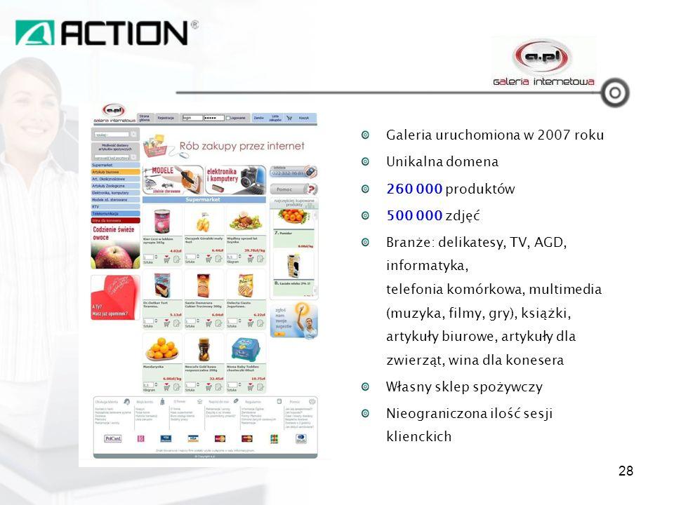 A.PL Galeria uruchomiona w 2007 roku Unikalna domena 260 000 produktów