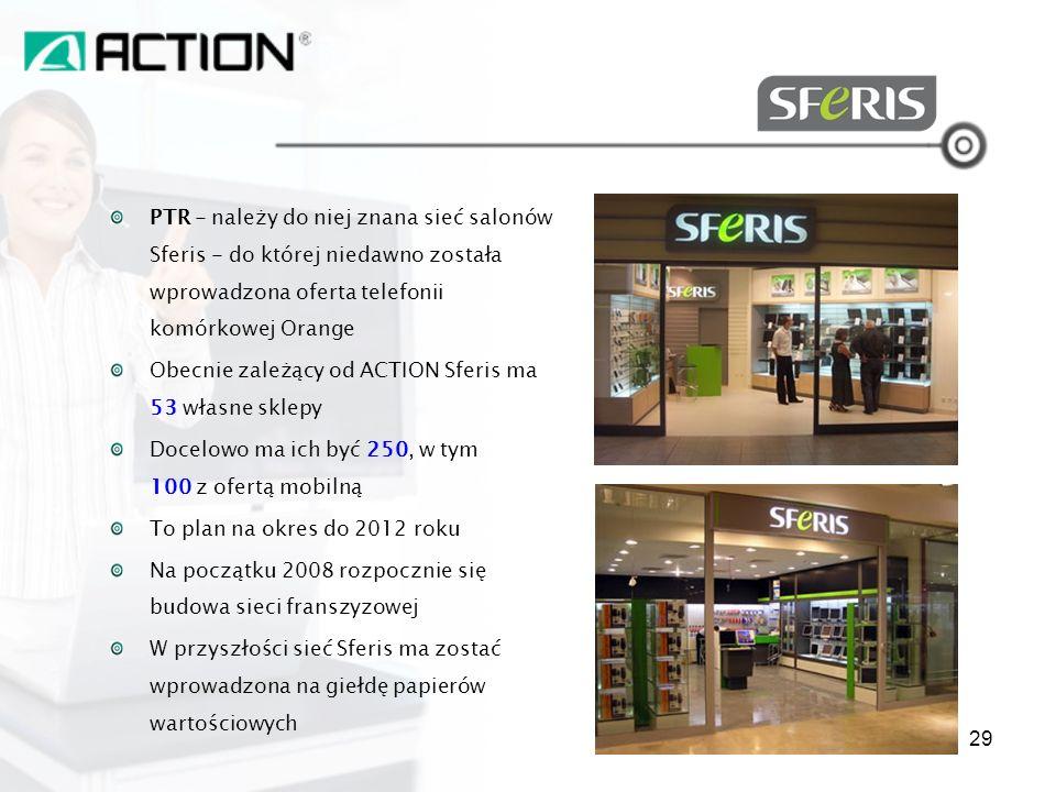 SFERIS PTR - należy do niej znana sieć salonów Sferis - do której niedawno została wprowadzona oferta telefonii komórkowej Orange.
