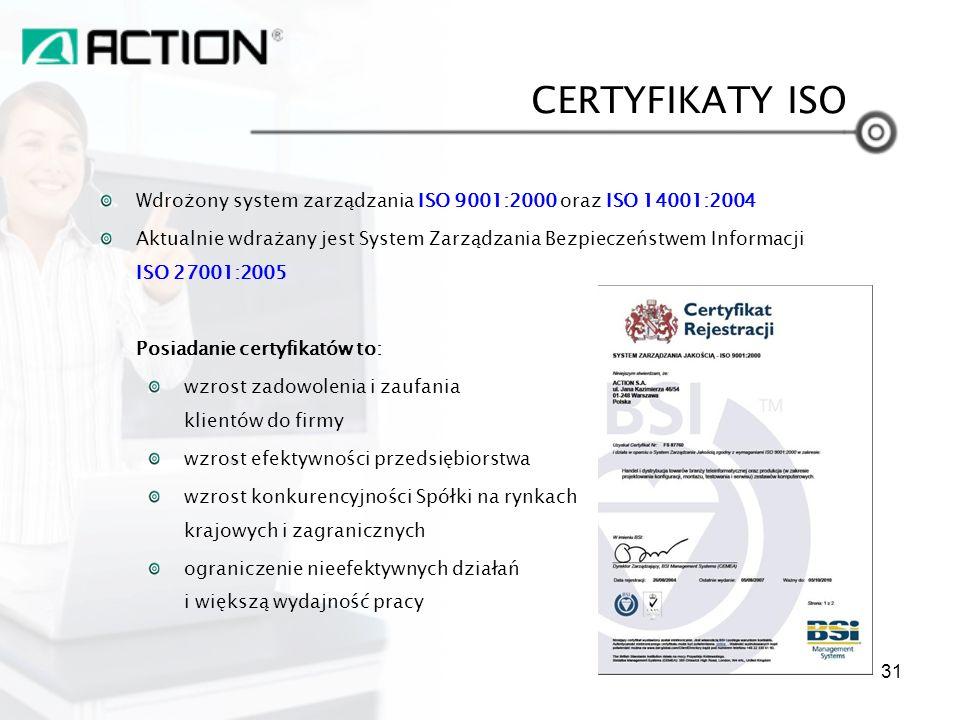 CERTYFIKATY ISO Wdrożony system zarządzania ISO 9001:2000 oraz ISO 14001:2004.