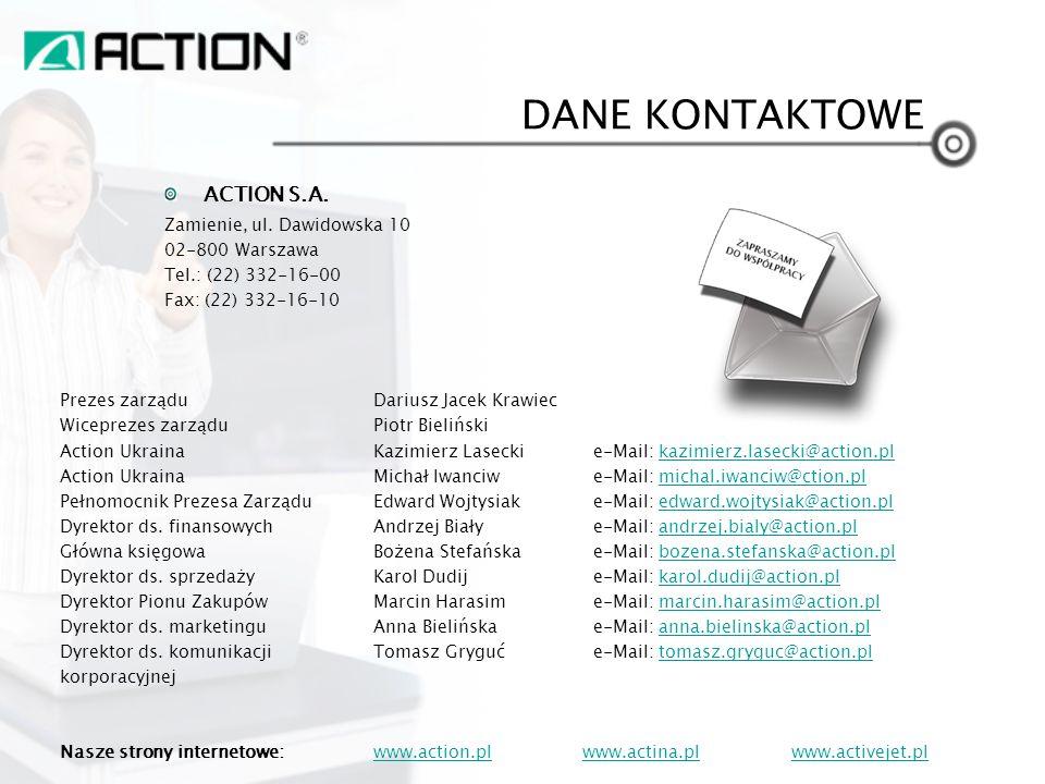 DANE KONTAKTOWE ACTION S.A. Zamienie, ul. Dawidowska 10