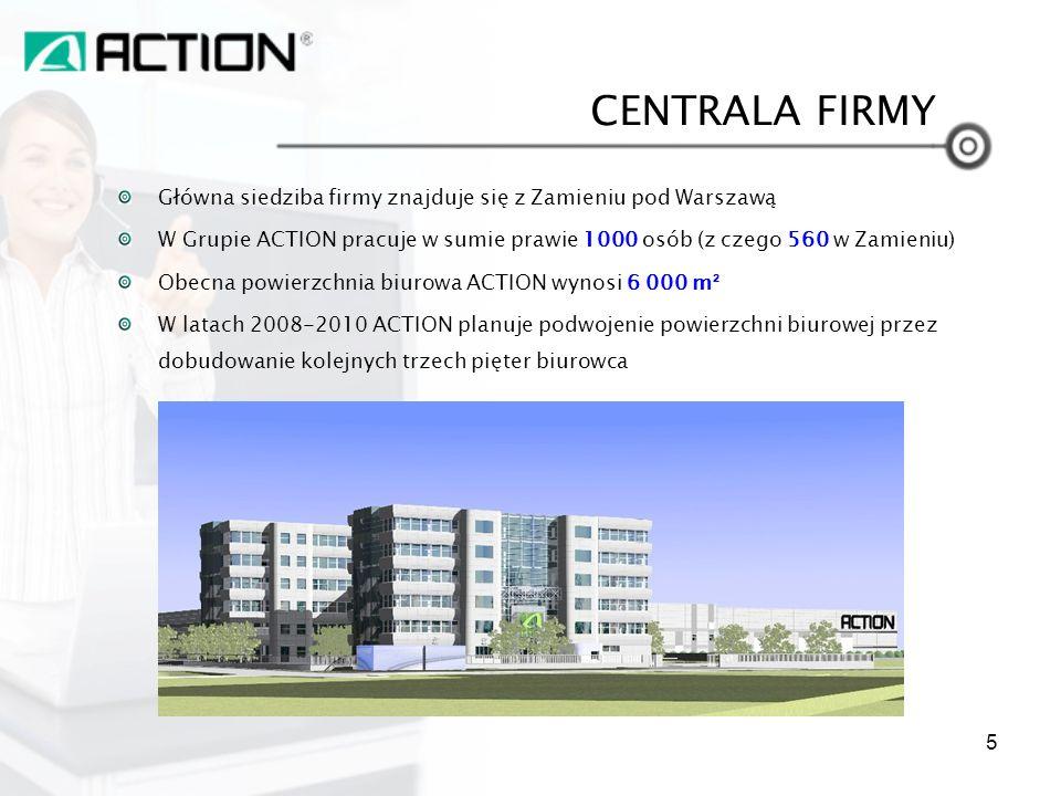 CENTRALA FIRMY Główna siedziba firmy znajduje się z Zamieniu pod Warszawą. W Grupie ACTION pracuje w sumie prawie 1000 osób (z czego 560 w Zamieniu)