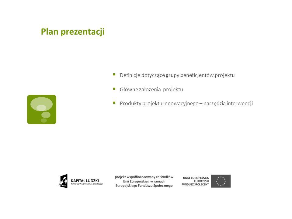 Plan prezentacji Definicje dotyczące grupy beneficjentów projektu