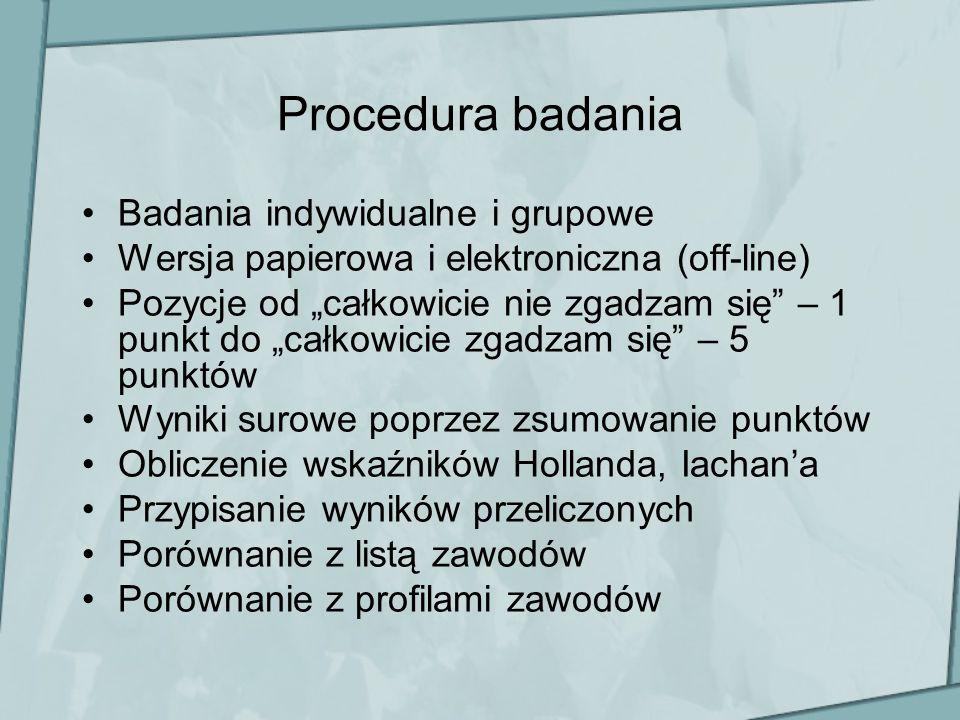 Procedura badania Badania indywidualne i grupowe