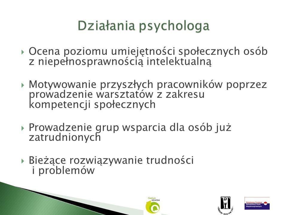Działania psychologa Ocena poziomu umiejętności społecznych osób z niepełnosprawnością intelektualną.