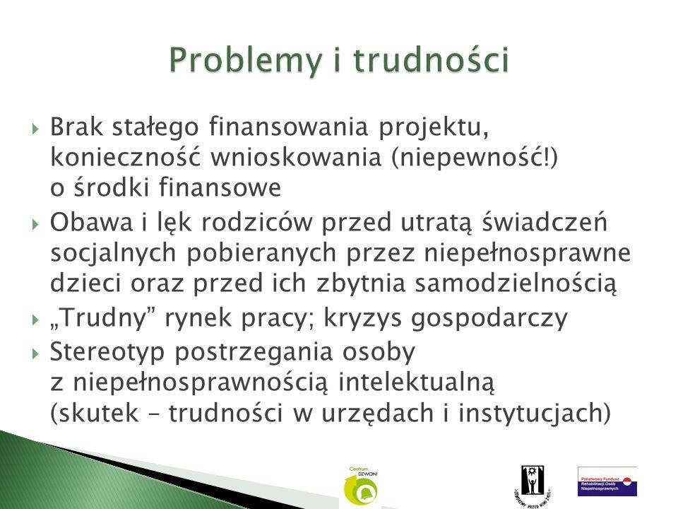 Problemy i trudności Brak stałego finansowania projektu, konieczność wnioskowania (niepewność!) o środki finansowe.