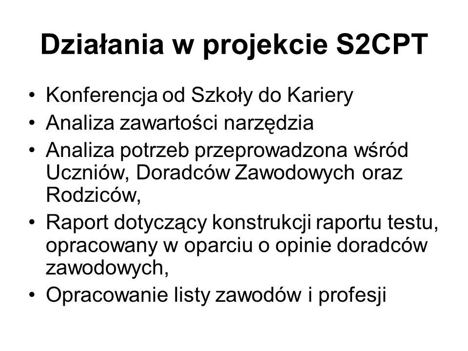 Działania w projekcie S2CPT