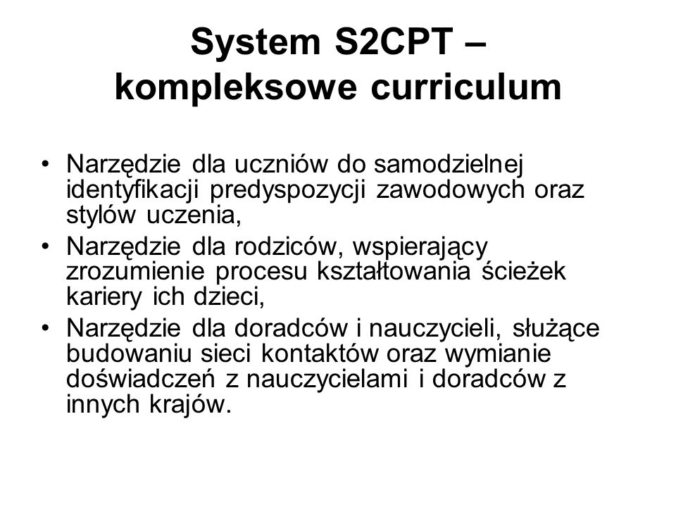 System S2CPT – kompleksowe curriculum