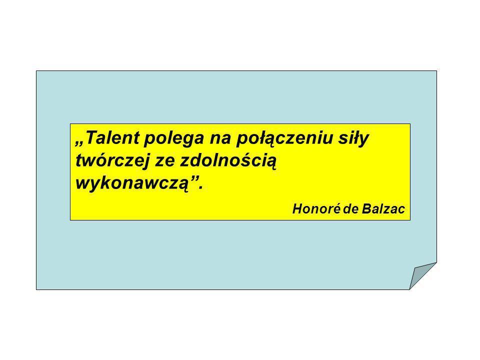 """""""Talent polega na połączeniu siły twórczej ze zdolnością wykonawczą ."""