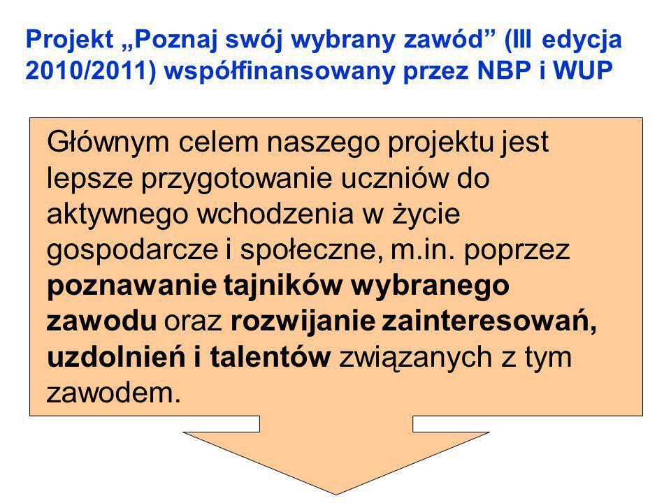 """Projekt """"Poznaj swój wybrany zawód (III edycja 2010/2011) współfinansowany przez NBP i WUP"""