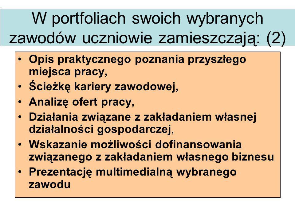 W portfoliach swoich wybranych zawodów uczniowie zamieszczają: (2)