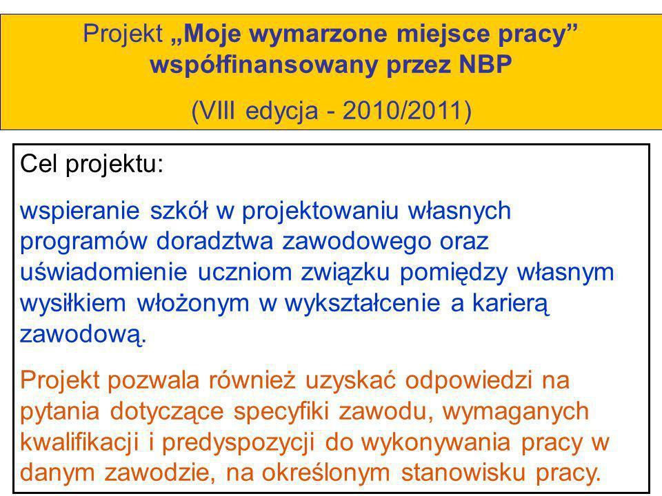 """Projekt """"Moje wymarzone miejsce pracy współfinansowany przez NBP"""
