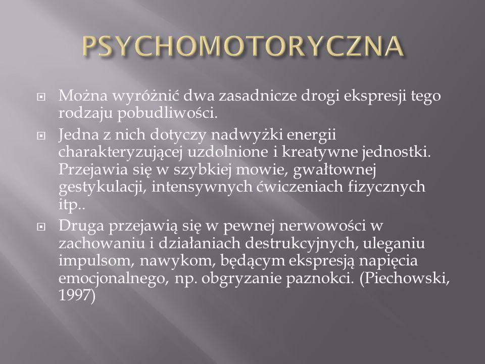 PSYCHOMOTORYCZNA Można wyróżnić dwa zasadnicze drogi ekspresji tego rodzaju pobudliwości.
