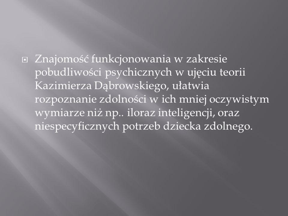 Znajomość funkcjonowania w zakresie pobudliwości psychicznych w ujęciu teorii Kazimierza Dąbrowskiego, ułatwia rozpoznanie zdolności w ich mniej oczywistym wymiarze niż np..