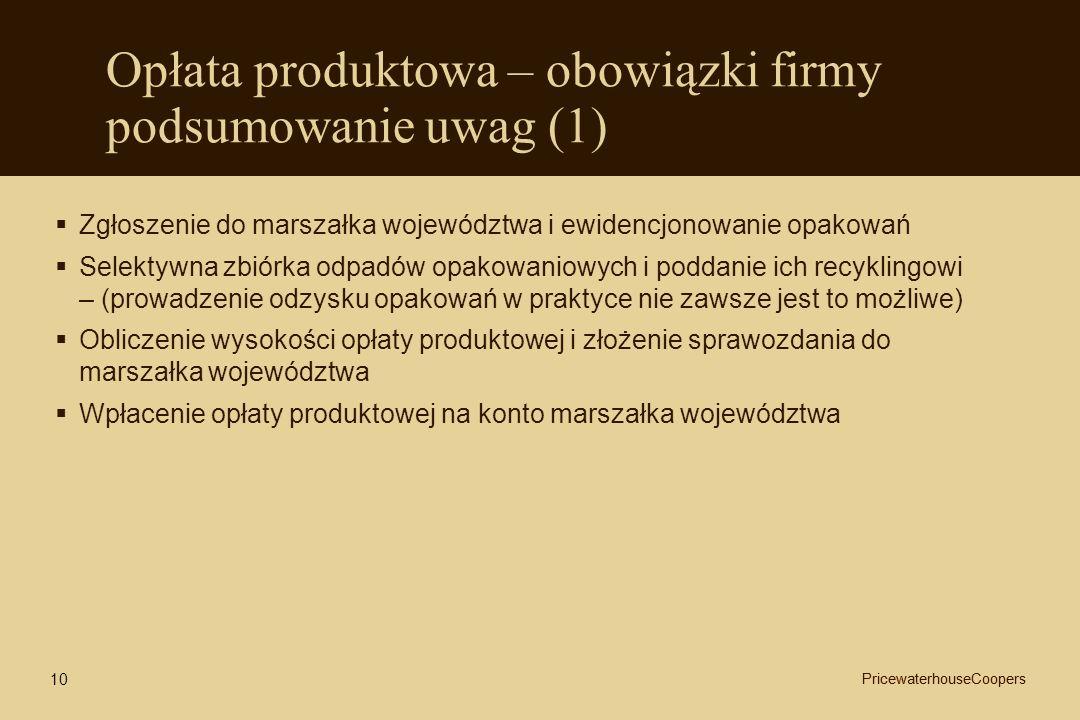 Opłata produktowa – obowiązki firmy podsumowanie uwag (1)