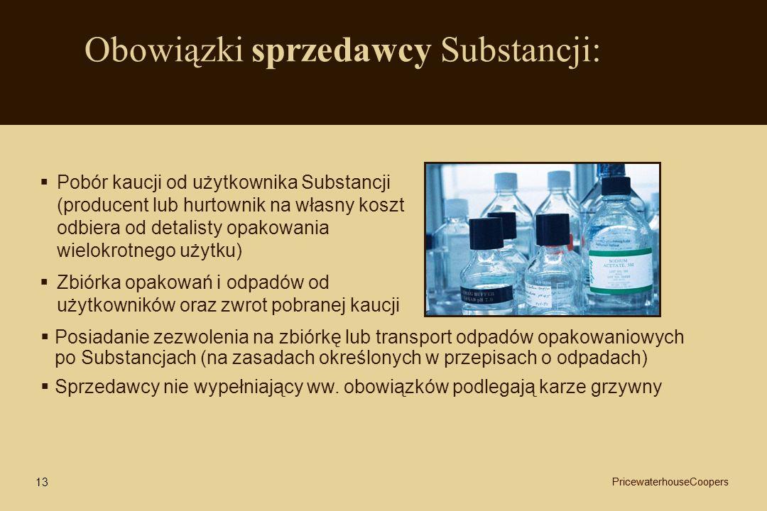 Obowiązki sprzedawcy Substancji:
