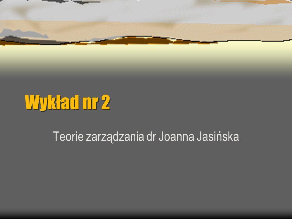 Teorie zarządzania dr Joanna Jasińska
