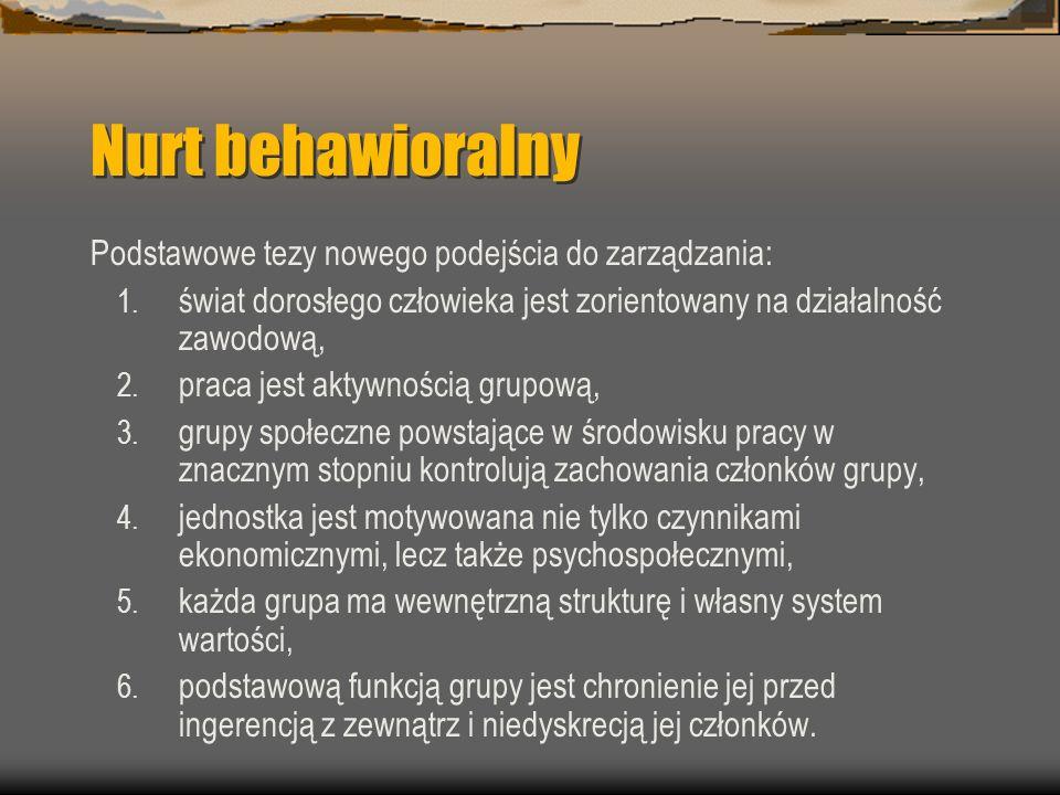 Nurt behawioralny Podstawowe tezy nowego podejścia do zarządzania: