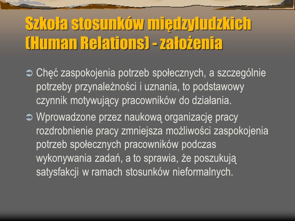 Szkoła stosunków międzyludzkich (Human Relations) - założenia