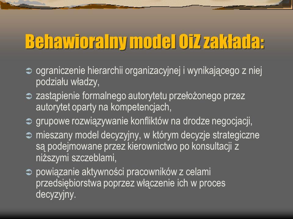 Behawioralny model OiZ zakłada: