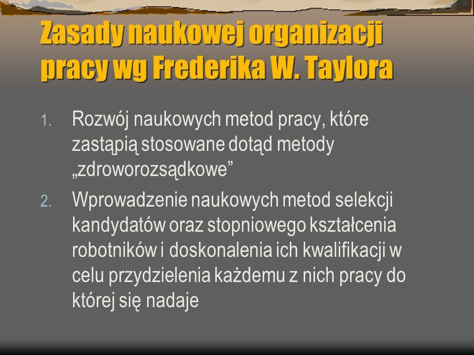 Zasady naukowej organizacji pracy wg Frederika W. Taylora
