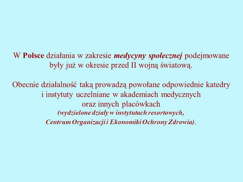 W Polsce działania w zakresie medycyny społecznej podejmowane były już w okresie przed II wojną światową.
