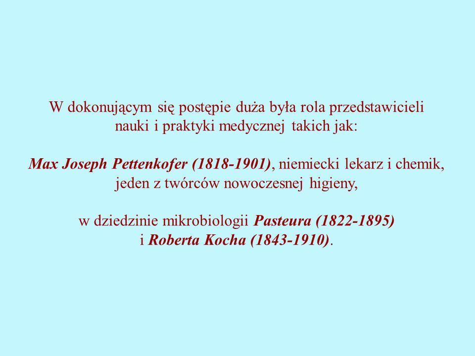 W dokonującym się postępie duża była rola przedstawicieli nauki i praktyki medycznej takich jak: Max Joseph Pettenkofer (1818-1901), niemiecki lekarz i chemik, jeden z twórców nowoczesnej higieny, w dziedzinie mikrobiologii Pasteura (1822-1895) i Roberta Kocha (1843-1910).