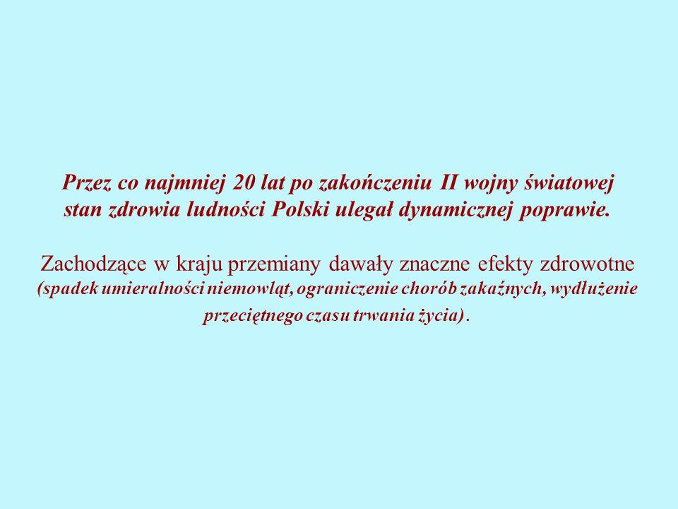 Przez co najmniej 20 lat po zakończeniu II wojny światowej stan zdrowia ludności Polski ulegał dynamicznej poprawie.