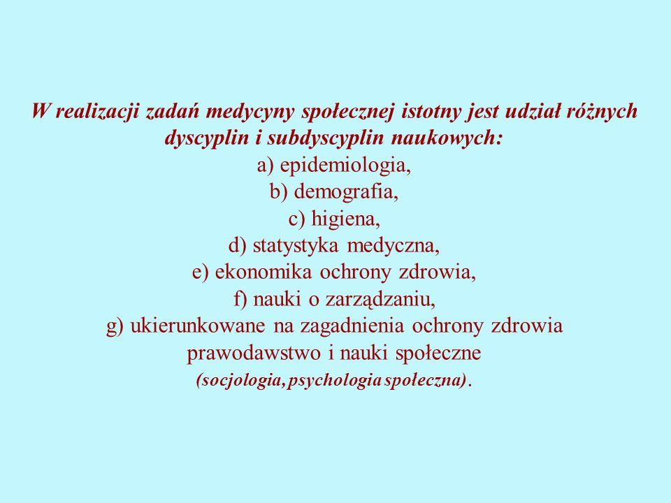 W realizacji zadań medycyny społecznej istotny jest udział różnych dyscyplin i subdyscyplin naukowych: a) epidemiologia, b) demografia, c) higiena, d) statystyka medyczna, e) ekonomika ochrony zdrowia, f) nauki o zarządzaniu, g) ukierunkowane na zagadnienia ochrony zdrowia prawodawstwo i nauki społeczne (socjologia, psychologia społeczna).