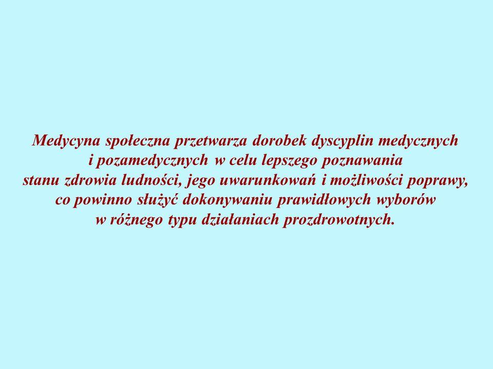 Medycyna społeczna przetwarza dorobek dyscyplin medycznych i pozamedycznych w celu lepszego poznawania stanu zdrowia ludności, jego uwarunkowań i możliwości poprawy, co powinno służyć dokonywaniu prawidłowych wyborów w różnego typu działaniach prozdrowotnych.