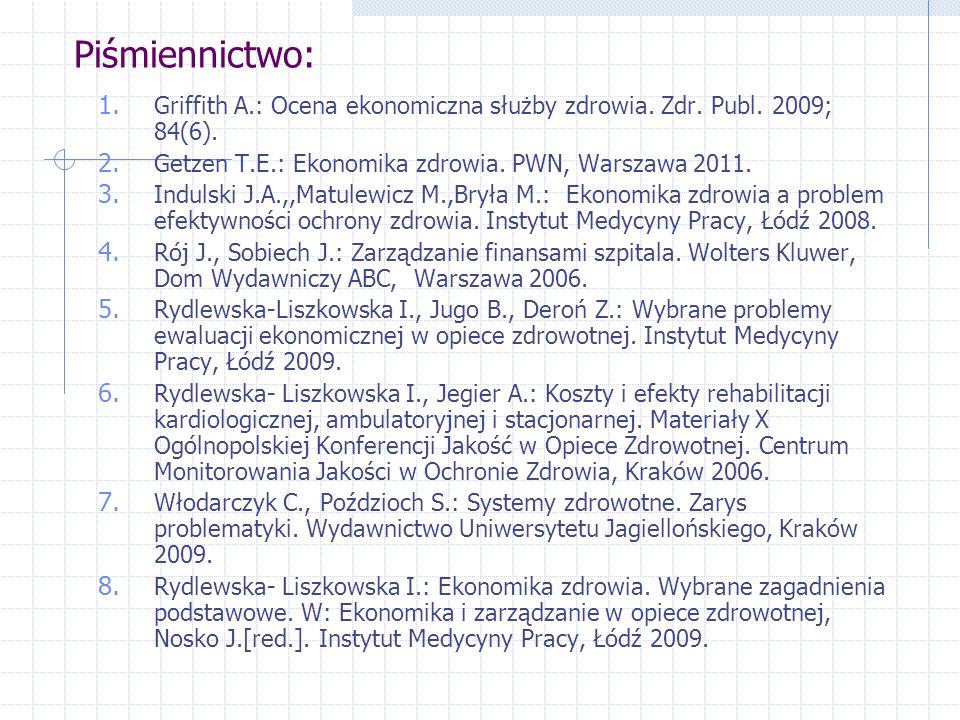 Piśmiennictwo: Griffith A.: Ocena ekonomiczna służby zdrowia. Zdr. Publ. 2009; 84(6). Getzen T.E.: Ekonomika zdrowia. PWN, Warszawa 2011.