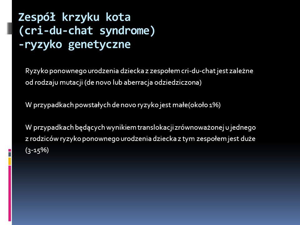 Zespół krzyku kota (cri-du-chat syndrome) -ryzyko genetyczne