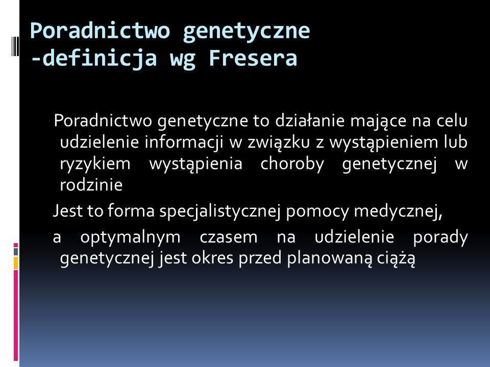 Poradnictwo genetyczne -definicja wg Fresera