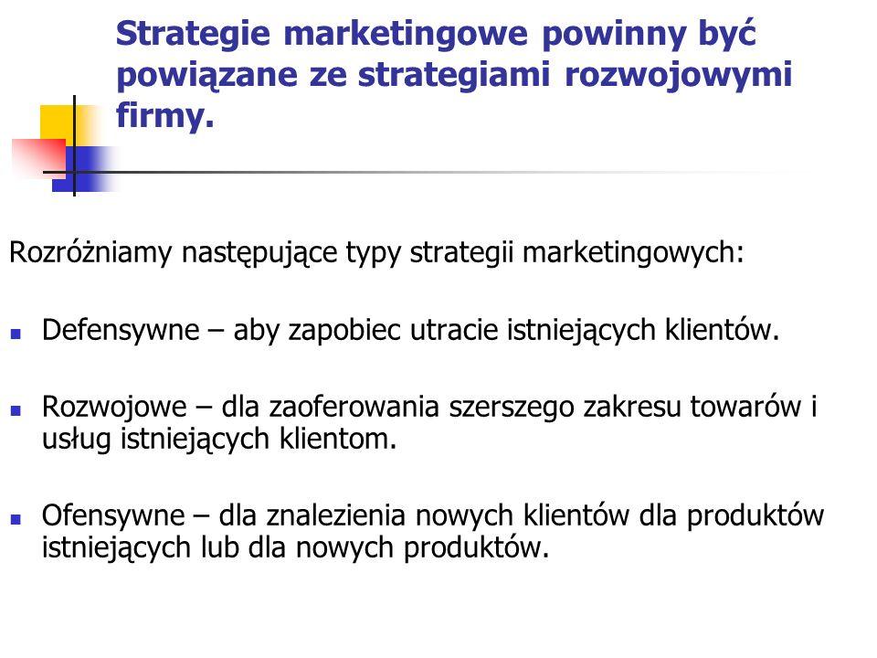 Strategie marketingowe powinny być powiązane ze strategiami rozwojowymi firmy.