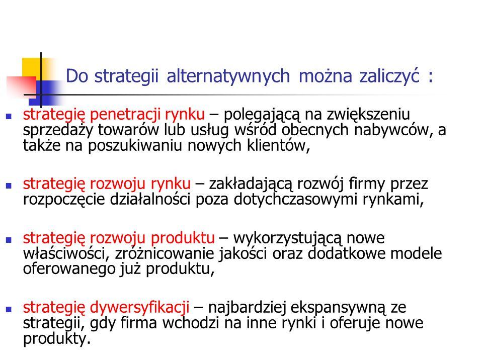 Do strategii alternatywnych można zaliczyć :