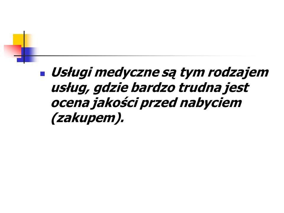 Usługi medyczne są tym rodzajem usług, gdzie bardzo trudna jest ocena jakości przed nabyciem (zakupem).