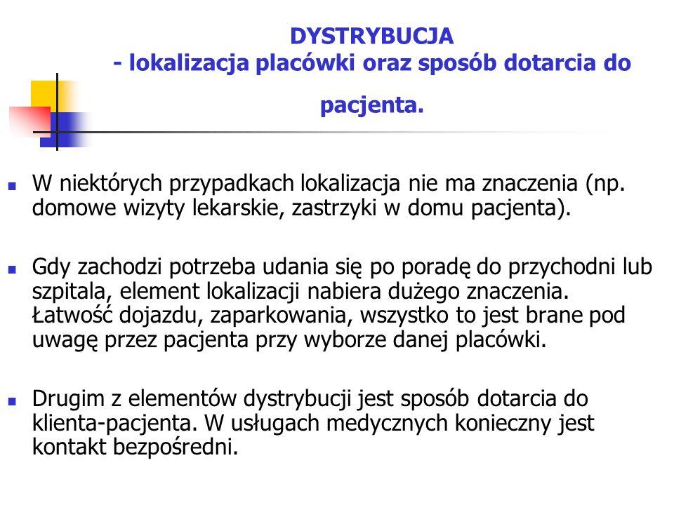 DYSTRYBUCJA - lokalizacja placówki oraz sposób dotarcia do pacjenta.