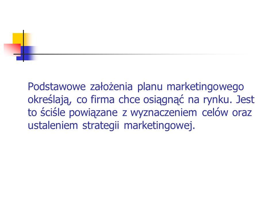 Podstawowe założenia planu marketingowego określają, co firma chce osiągnąć na rynku.